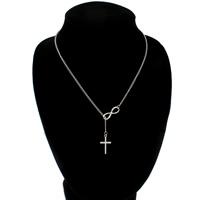 Eisen Halsketten, mit Zinklegierung, mit Verlängerungskettchen von 5.4cm, Kreuz, Platinfarbe platiniert, Twist oval, frei von Nickel, Blei & Kadmium, 13x23x1.5mm, 22x8x1mm, verkauft per ca. 18.5 ZollInch Strang