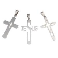 Edelstahl-Kreuz- Anhänger, Edelstahl, gemischt, 25x44x2mm-26x45x2mm, Bohrung:ca. 4x8mm, 20PCs/Tasche, verkauft von Tasche
