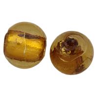 Silberfolie Lampwork Perlen, rund, handgemacht, verschiedene Größen vorhanden, Kaffeefarbe, Bohrung:ca. 2mm, verkauft von Tasche