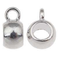 Zinklegierung Stiftöse Perlen, Trommel, Platinfarbe platiniert, frei von Nickel, Blei & Kadmium, 5.50x11x8mm, Bohrung:ca. 2mm, 5mm, 10PCs/Tasche, verkauft von Tasche