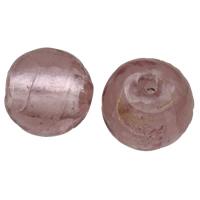 Silberfolie Lampwork Perlen, rund, handgemacht, verschiedene Größen vorhanden, violett, Bohrung:ca. 2mm, verkauft von Tasche