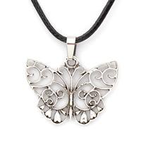 PU-Schnur-Halskette, Zinklegierung, mit PU Leder, mit Verlängerungskettchen von 5cm, Schmetterling, antik silberfarben plattiert, frei von Nickel, Blei & Kadmium, 37x28x1.50mm, verkauft per ca. 17 ZollInch Strang