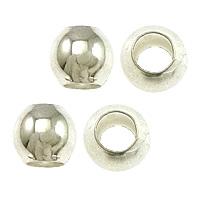 Messing Großes Loch Perlen, Trommel, silberfarben plattiert, frei von Nickel, Blei & Kadmium, 5mm, Bohrung:ca. 3mm, 100PCs/Tasche, verkauft von Tasche