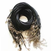 Mode Halskette Schnur, Gewachste Nylonschnur, mit Verlängerungskettchen von 2Inch, schwarz, frei von Nickel, Blei & Kadmium, 2mm, Länge:ca. 17.7 ZollInch, 10SträngeStrang/Menge, verkauft von Menge