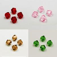 Doppelkegel Kristallperlen, Kristall, transparent & facettierte, mehrere Farben vorhanden, 4mm, Bohrung:ca. 1mm, 100PCs/Tasche, verkauft von Tasche