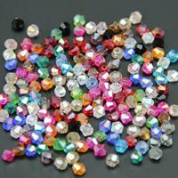 Doppelkegel Kristallperlen, Kristall, AB Farben plattiert, transparent & facettierte, mehrere Farben vorhanden, 4mm, Bohrung:ca. 1mm, 100PCs/Tasche, verkauft von Tasche