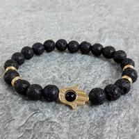 Hamsa Armbänder, Lava, mit schwarzer Stein & Zinklegierung, Evil Eye Hamsa, goldfarben plattiert, natürliche, frei von Nickel, Blei & Kadmium, 8mm, 22PCs/Strang, verkauft per ca. 7.4 ZollInch Strang