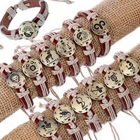 Rindsleder Armband, Kuhhaut, mit Nylonschnur & Zinklegierung, antike Bronzefarbe plattiert, Konstellation Schmuck & einstellbar & Schwärzen, frei von Nickel, Blei & Kadmium, 12mm, 12SträngeStrang/setzen, verkauft von setzen