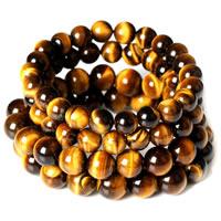 Natürliche Tiger Eye Armband, Tigerauge, rund, verschiedene Größen vorhanden, verkauft per ca. 7.5 ZollInch Strang