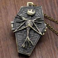 Mode Halskette Uhr, Zinklegierung, mit Edelstahl Kette & Glas, Schädel, antike Bronzefarbe plattiert, Twist oval, 32x50mm, verkauft per ca. 31 ZollInch Strang