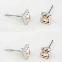 CRYSTALLIZED™ Kristall Ohrring, mit Zinklegierung, Quadrat, platiniert, Crystal Golden Shadow, 0.65x0.65cm, verkauft von Paar