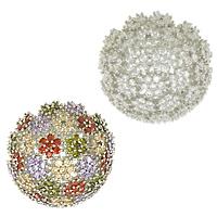 Kubische Zro2-Micro Pave Messingring, Messing, Blume, platiniert, verschiedene Größen vorhanden & Micro pave Zirkonia, keine, frei von Nickel, Blei & Kadmium, 32mm, verkauft von PC