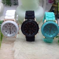 Damen Armbanduhr, Silikon, mit Zinklegierung Zifferblatt & Glas, plattiert, keine, frei von Nickel, Blei & Kadmium, 38mm, Länge:ca. 8.6 ZollInch, verkauft von PC