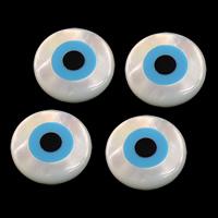 Evil Eye Cabochon, Weiße Muschel, blöser Blick, natürlich, flache Rückseite & Emaille, 10x3mm, 20PCs/Menge, verkauft von Menge