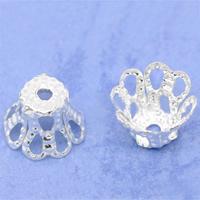 Eisen Perlenkappen, Blume, silberfarben plattiert, hohl, frei von Nickel, Blei & Kadmium, 6x5mm, Bohrung:ca. 1mm, 5Taschen/Menge, 200PCs/Tasche, verkauft von Menge