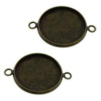 Messing Schmuckverbinder Einstellung, flache Runde, antike Bronzefarbe plattiert, 1/1-Schleife, frei von Nickel, Blei & Kadmium, 26.50x19.50x1.50mm, Bohrung:ca. 2mm, Innendurchmesser:ca. 18mm, 200PCs/Menge, verkauft von Menge