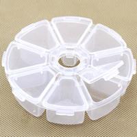 Schmuck Nagelkasten, Kunststoff, flache Runde, transparent & 8 Zellen, klar, 103x26mm, verkauft von PC