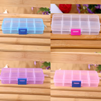 Schmuck Nagelkasten, Kunststoff, Rechteck, transparent & 10 Zellen, keine, 132x72x23mm, verkauft von PC