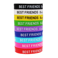 Silicone Bracelets word best friend printing mixed colors Sold By Bag