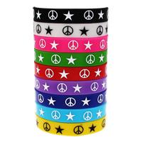 Silikon Armbänder, Kunstdruck, unterschiedliche Länge der Wahl & mit einem Muster von Stern & verschiedene Größen vorhanden, gemischte Farben, 10SträngeStrang/Tasche, verkauft von Tasche