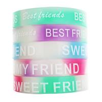 Silikon Armbänder, Wort bester Freund, Kunstdruck, glänzend, gemischte Farben, 12mm, Länge:ca. 6.5 ZollInch, 10SträngeStrang/Tasche, verkauft von Tasche