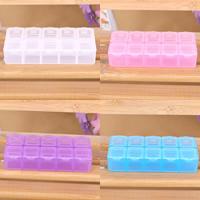 Schmuck Nagelkasten, Kunststoff, Rechteck, transparent & 10 Zellen, keine, 133x57mm, verkauft von PC