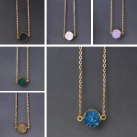 Druzy Halskette, Natürlicher Quarz, mit Eisen, flache Runde, goldfarben plattiert, druzy Stil & Oval-Kette, keine, 14-20mm, verkauft per ca. 18 ZollInch Strang