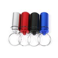 Aluminium Pill Bottle Schlüsselanhänger, Zylinder, plattiert, keine, frei von Nickel, Blei & Kadmium, 50x16mm, 23mm, verkauft von PC