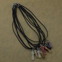 Natürlicher Quarz Halskette, mit Gummi & Messing, mit Verlängerungskettchen von 1.5lnch, Pendel, plattiert, keine, 11x43x11mm,2mm, Länge:ca. 18 ZollInch