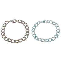 Aluminium-Armband, Aluminium, Spritzlackierung, Twist oval & verschiedene Muster für Wahl, 10x14x2mm, Länge:ca. 8 ZollInch, 5SträngeStrang/Tasche, verkauft von Tasche
