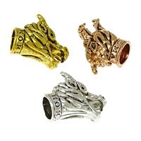 Zinklegierung Endkappe, Tier, plattiert, Schwärzen, keine, frei von Nickel, Blei & Kadmium, 18x14x12mm, Bohrung:ca. 6.5mm, 100PCs/Menge, verkauft von Menge