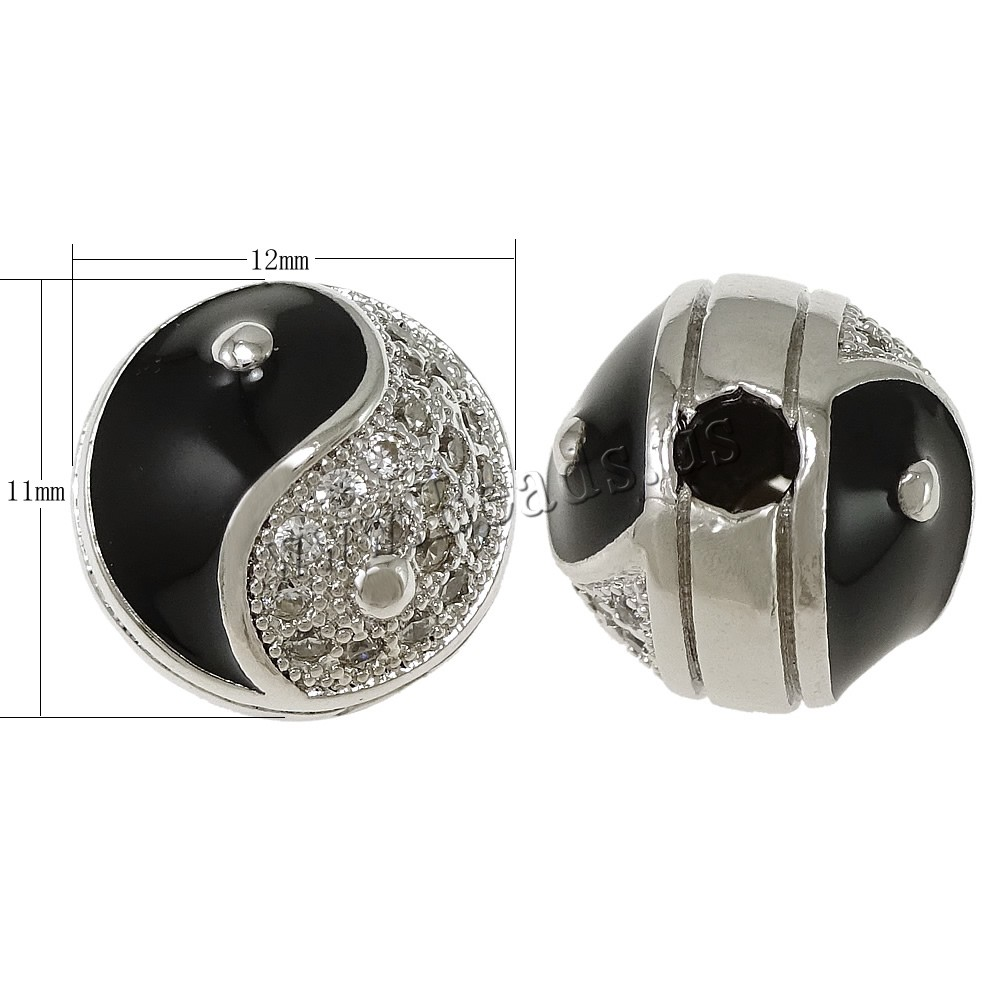 Buy Cubic Zirconia Micro Pave Brass Beads Drum platinum plated ying yang & micro pave cubic zirconia & enamel nickel lead & cadmium free 12x11x11.50mm Hole:Approx 3mm 1 Sold Lot