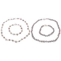 Natürliche kultivierte Süßwasserperlen Schmucksets, Armband & Halskette, Messing Verschluss, Barock, verschiedene Stile für Wahl, keine, 7-8mm, Länge:ca. 7.5 ZollInch, ca. 17 ZollInch, verkauft von setzen