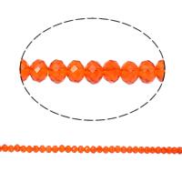 Rondell Kristallperlen, Kristall, facettierte & AA grade crystal, orange, 4x6mm, Bohrung:ca. 1mm, Länge:ca. 17.5 ZollInch, 10SträngeStrang/Tasche, ca. 100PCs/Strang, verkauft von Tasche