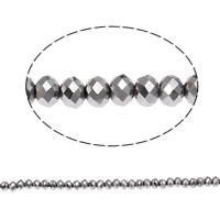 Rondell Kristallperlen, Kristall, AA grade crystal, metallische Farbe plattiert, 4x6mm, Bohrung:ca. 1mm, Länge:ca. 17 ZollInch, 10SträngeStrang/Tasche, verkauft von Tasche