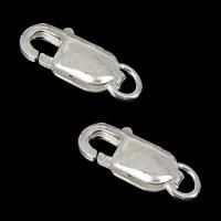 925 Sterling Silber Karabinerverschluss, Rechteck, 5.30x14mm, Bohrung:ca. 3mm, 30PCs/Menge, verkauft von Menge
