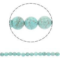 Türkis Perlen, rund, verschiedene Größen vorhanden, Bohrung:ca. 1mm, verkauft per ca. 15.5 ZollInch Strang