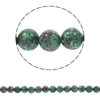 Rubin Zoisit Perle, rund, verschiedene Größen vorhanden, Bohrung:ca. 1mm, verkauft per ca. 14.5 ZollInch Strang