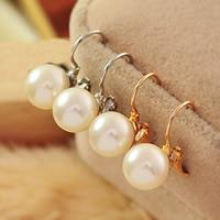Zinklegierung Hebel Rückseiten Ohrring, mit ABS-Kunststoff-Perlen, Edelstahl Hebel Rückseiten Ohrring Haken, rund, plattiert, keine, frei von Nickel, Blei & Kadmium, 10mm, verkauft von Paar