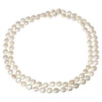 Natürliche Süßwasser Perle Halskette, Natürliche kultivierte Süßwasserperlen, Münze, unterschiedliche Länge der Wahl, weiß, 8-9mm, verkauft von Strang