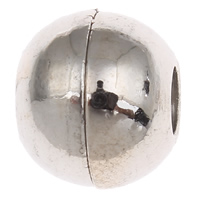 Messing Magnetverschluss, Trommel, Platinfarbe platiniert, frei von Nickel, Blei & Kadmium, 10x12mm, Bohrung:ca. 4mm, verkauft von PC
