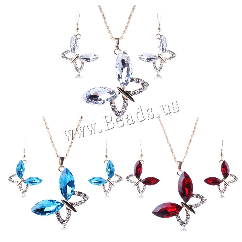 Buy Zinc Alloy Jewelry Sets earring & necklace iron chain & Glass iron earring hook 5cm extender chain Butterfly gold color plated rope chain & faceted & rhinestone colors choice nickel lead & cadmium free 45x32mm 18x20mm Length:Approx 29 Inch Sold Set