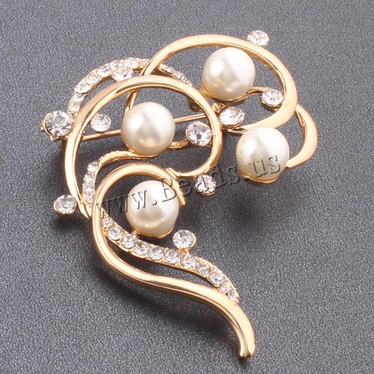 Buy Plastic Pearl Brooch Zinc Alloy Flower rose gold color plated plastic pearl & rhinestone nickel lead & cadmium free 30-50mm Sold PC