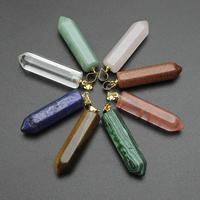 Edelstein Anhänger Schmuck, mit Messing Stiftöse, Pendel, goldfarben plattiert, verschiedenen Materialien für die Wahl, 8x33mm-8x29mm, Bohrung:ca. 3mm, verkauft von PC