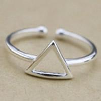 925 Sterling Silber Manschette Fingerring, Dreieck, platiniert, 3-8mm, Größe:5, verkauft von PC