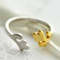 Weihnachten Finger Ring, Messing, versilbert, gebürstet & zweifarbig, 16.5mm, Größe:5, verkauft von PC