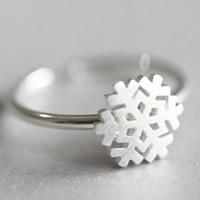 Weihnachten Finger Ring, Messing, Schneeflocke, versilbert, gebürstet, 5-8mm, Größe:5, verkauft von PC