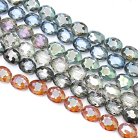 Kristall-Perlen, Kristall, flachoval, bunte Farbe plattiert, facettierte, mehrere Farben vorhanden, 20x16x8mm, Bohrung:ca. 1.5mm, ca. 30PCs/Strang, verkauft per ca. 27.5 ZollInch Strang