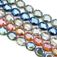 Kristall-Perlen, Kristall, flachoval, bunte Farbe plattiert, facettierte, mehrere Farben vorhanden, 25x20x10mm, Bohrung:ca. 2mm, ca. 25PCs/Strang, verkauft per ca. 23.5 ZollInch Strang