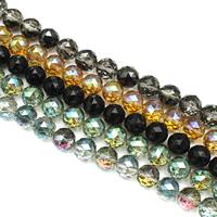 Runde Kristallperlen, Kristall, bunte Farbe plattiert, facettierte, mehrere Farben vorhanden, 16mm, Bohrung:ca. 1.5mm, ca. 40PCs/Strang, verkauft per ca. 23.5 ZollInch Strang